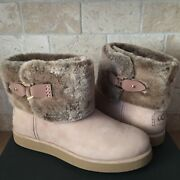 Ugg Classic Berge Mini Amphora Suede Shearling Ankle Boots Size Us 8 Womens