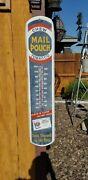 Vintage Mail Pouch Chewing Tobacco Thermometer Man Cave Indoor Outdoor 39x8.5