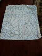 Vintage Chenille Bedspread 92 X 102 Blue White Bedding Coverlet Fabric