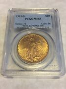 1911-s Ms63 Pcgs Saint Gaudens Double Eagle 20 Gold Coin Great Appeal Obl