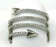 Natural Round Diamond Arrow Loop Bypass Ladyand039s Ring Band 14k White Gold .42ct