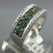 Wide 3.70ct Diamond And Aaa Green Amethyst 14kt White Gold Princess Invisible Ring