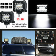 2x 4and039and039 60w 20-led Cree Work Fog Light Bars Offroad Spot Flood Work Driving Lamp