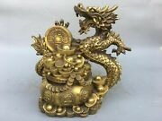 15and039and039 Brass Copper Furniture Decorate Animal Blessing Wealth Treasure Dragon