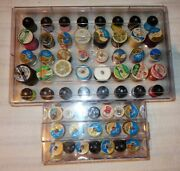 Big Mixed Lot 59 Spools Of Thread In Vintage Clear Plastic Sewing Storage Boxes