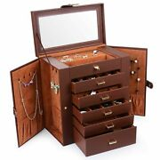 Huge Leather Jewelry Box Case Storage Necklace Organizer Holder Earrings