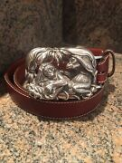 Rare Kieselstein-cord Sterling Jungle Monkey Buckle And Brown Leather Belt