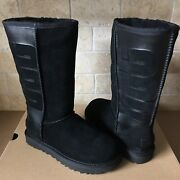 Ugg Classic Tall Rubber Ugg Logo Black Suede Sheepskin Boots Size Us 6 Womens