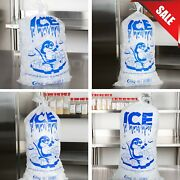 1000 Case 8 Lb. To 50 Lb. Clear Plastic Ice Bag Machine Commercial Barcode Blue