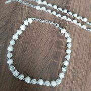 Job Lot Costume Crystal And Pearl Necklace X 1 Bracelets X 2 - Wedding, Ex Display