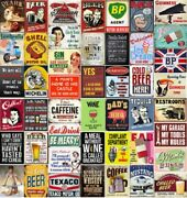 Vintage Metal Tin Signs Retro Man Cave Plaques Home Beer Wall Pub Indoor Posters