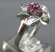 1.08ct Diamond And Aaa Pink Sapphire 18kt White Gold Round And Baguette Flower Ring