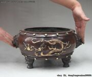 China Red Copper Gold Gilt Dragon Play Bead Two Ears Lion Censer Incense Burner