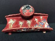 Antique Majolica Inkwell/pentray With Cats Riding Penny Farthing Bicycles