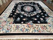 9and039 X 12and039 Hand Made Art Deco Aubusson Wool Rug 90 Lines Chinese Plush Pile Pink