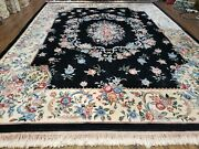 9' X 12' Hand Made Art Deco Aubusson Wool Rug 90 Lines Chinese Plush Pile Pink