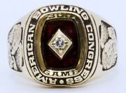 Men's American Bowling Congress 14k Yellow Gold Ruby And Diamond 300 Game Ring 14