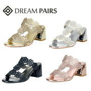 Dream Pairs Womenand039s Chunky Block Heel Sandals Open Toe Slip On Casual Shoes