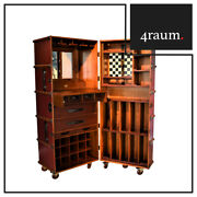 Authentic Models Stateroom Bar Rot Weinschrank Regal Whiskey Koffer Vintage Holz