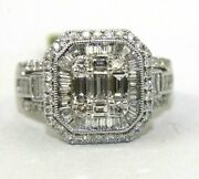 Natural Emerald And Round Diamond Square Cluster Ladyand039s Ring 14k White Gold 1.68ct