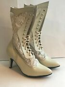 Victorian Ivory Boots Leather And Laceoak Tree Farms Size 6.5 7.5 8 8.510
