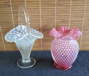 Fenton Cranberry Opalescent Hobnail Ruffled Vase 8in And Opal Hobnail Basket 12in