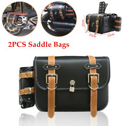 2pc Motorcycle Scooter Pu Leather Side Hanging Bag Luggage Saddle Bags Universal