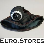 Vw Lupo Original Gti Leather / Knob Gear ,black With Red Stitching - New