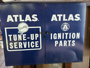 Vintage Atlas Tune-up Service Ignition Parts Metal Wall Hanging Cabinet