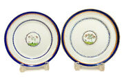 Two Chinese Export Porcelain Cobalt Blue And Gilt Plates, Circa 1800. Trees