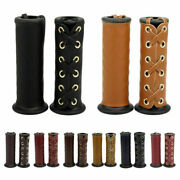 Pair Leather Motorcycle Handlebars Hand Grip Covers Retro Universal For 7/8 1