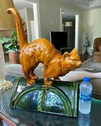 French Figural Cat Form Roof Tile  Signed 16l X 23 H