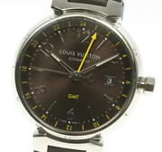 Louis Vuitton Tambour Q1155 Date Gmt Brown Dial Automatic Menand039s Watch_551768