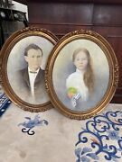 A Pair Of Antique Or Vintage Oval Frames Portraits Oil Signed Roberts