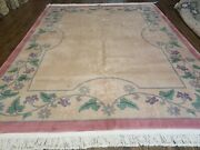 8and039 X 10and039 Vintage Hand Made Chinese Art Deco 120 Lines Wool Rug Flowers Beige Wow