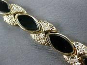 1.08ct Diamond And Aaa Onyx 14k Yellow Gold Marquise Shape And Round Bracelet 27042