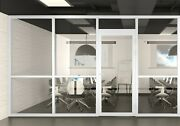 Cgp Office Partition System Glass Aluminum Wall 12andrsquox9andrsquo W/door White Semi