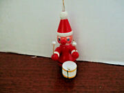 Vintage 3 1/2 Santa Claus Playing On A Drum Christmas Ornament