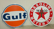2 Large Vintage Style 24 Texaco And Gulf Gas Station Signs Man Cave Garage Decor