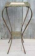 Antique Victorian Gold Gilt Iron And Travertine Marble Plant Stand Table 1880