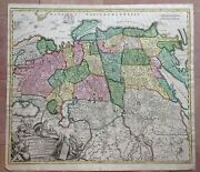 Empire Of Russia 1710 Jb Homann Large Antique Engraved Map 18th Century