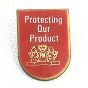 Rare Vintage Philip Morris Lapel Pin Protecting Our Product W/ Logo Tobacco