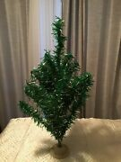 Vintage Tinsel Bottle Brush Christmas Tree And Plastic Stand Green Silver Tinsel C