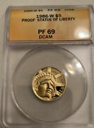 Gold 1986-w Statue Of Liberty Us 5 Anacs Pf69dcam Pf-69dcam Proof 1/4 Ounce Oz