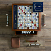Scrabble Trophy Luxury Edition W/ Rotating Wooden Game Board By Ws Game Company