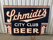 Rare Schmidts City Club Double Sided Porcelain Advertising Beer Sign Wow