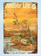 Outdoor Life 1954 Fishing Hunting Ducks Metal Tin Sign Old Signs For Sale