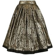 Gianni Versace A/w 1983 Gold Black Floral Silk Lame Skirt Size 42 Nos Nwt