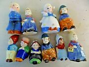 Lot 10 Vintage Dutch Boy And Girl Salt And Pepper Shakers