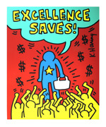 Keith Haring Excellence Saves 36 X 30.25 Serigraph 1990 Pop Art Red, Yellow,